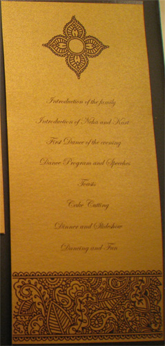 Henna Inspired Wedding Reception Program