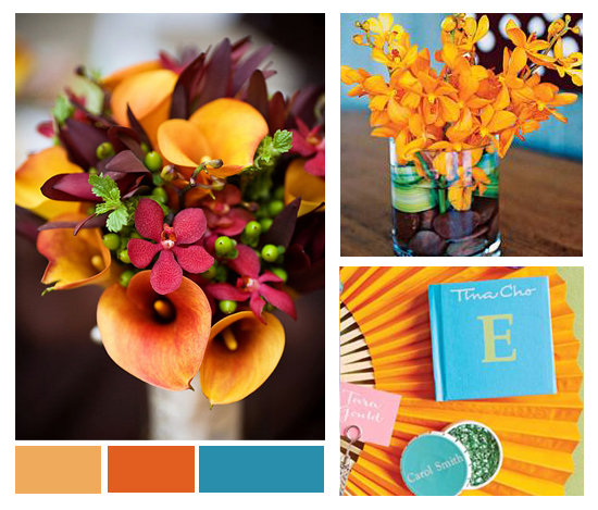 The hottest colors for weddings in 2010 Mango and Turquoise