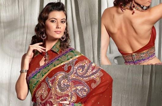 saree blouse with collar