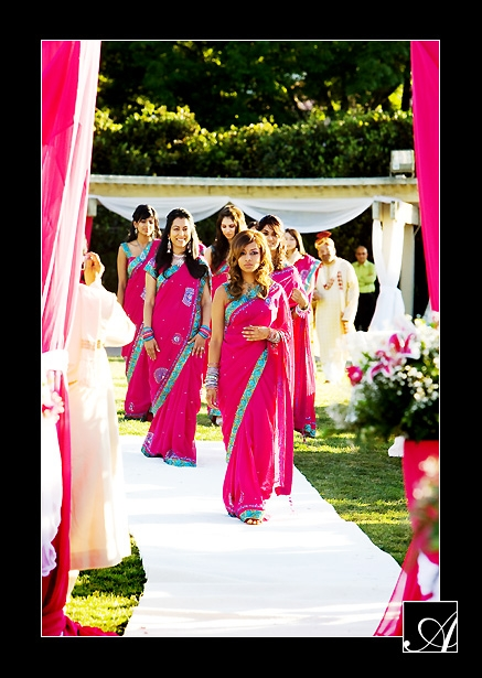 Magenta Bridesmaid Saris with a turquoise border